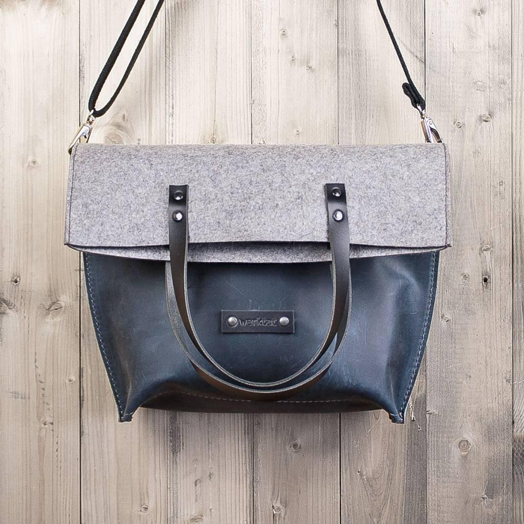 Umhängetasche aus blauem Leder und Filz Damen Messenger Bag CHARAKTERSTÜCK