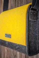 Messenger Bag, felt, leather black, shoulder bag, tucker bag, Werksbote Max
