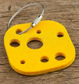 felt key chain cheese, yellow, gift tag