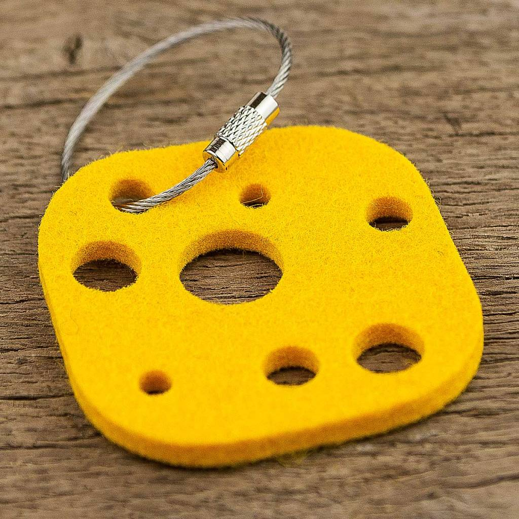 felt key chain cheese, yellow, steel rope with screw cap