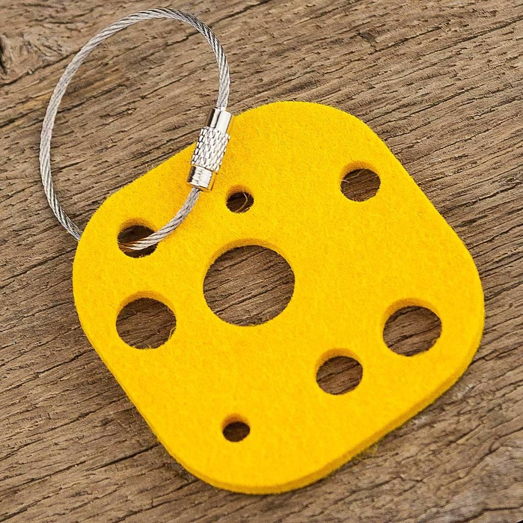 Filz Schlüsselanhänger Käse, gelb mit Stahlseil