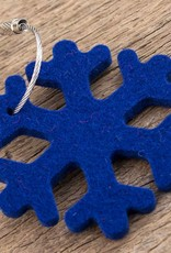 felt key chain snowflake, ice crystal, dark blue, steel rope with screw cap