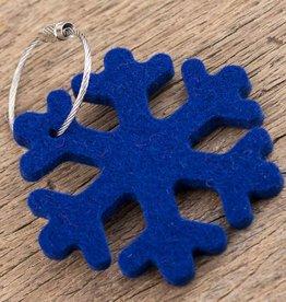 Filz Schlüsselanhänger Schneeflocke, dunkel-blau