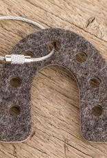 felt key chain lucky horseshoe, bicolor brown beige, steel rope with screw cap