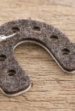 Filz Schlüsselanhänger Hufeisen, bicolor braun beige mit Stahlseil