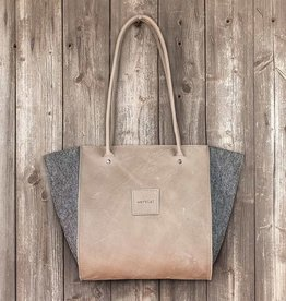"Resultat in leather ""stone"", shoulder bag, handbag, leather bag, felt bag"