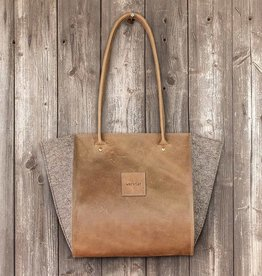 "Resultat in leather ""hazel"", shoulder bag, handbag, leather bag, felt bag"