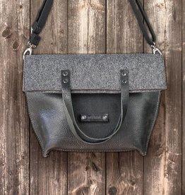 """""""Charakterstück"""" schwarzes Leder & Filz Umhängetasche Messenger bag"""