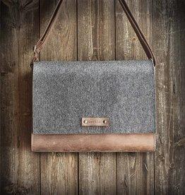 MAX+MORITZ Messenger Bag / Umhängetasche aus grauem Filz und braunem Leder