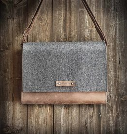 MAX+MORITZ shoulder bag in grey felt and brown leather