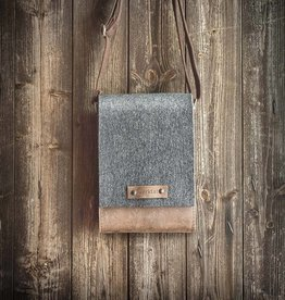 FRITZ the small: Shoulder bag in grey felt & brown leather
