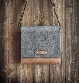 shoulder crossbody bag EMIL in gray felt and leather in brown