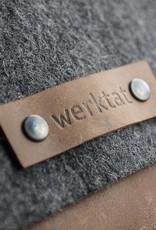 """Messenger bag felt leather brown shoulder bag """"Werksbote Hans the long"""" for men and  women"""