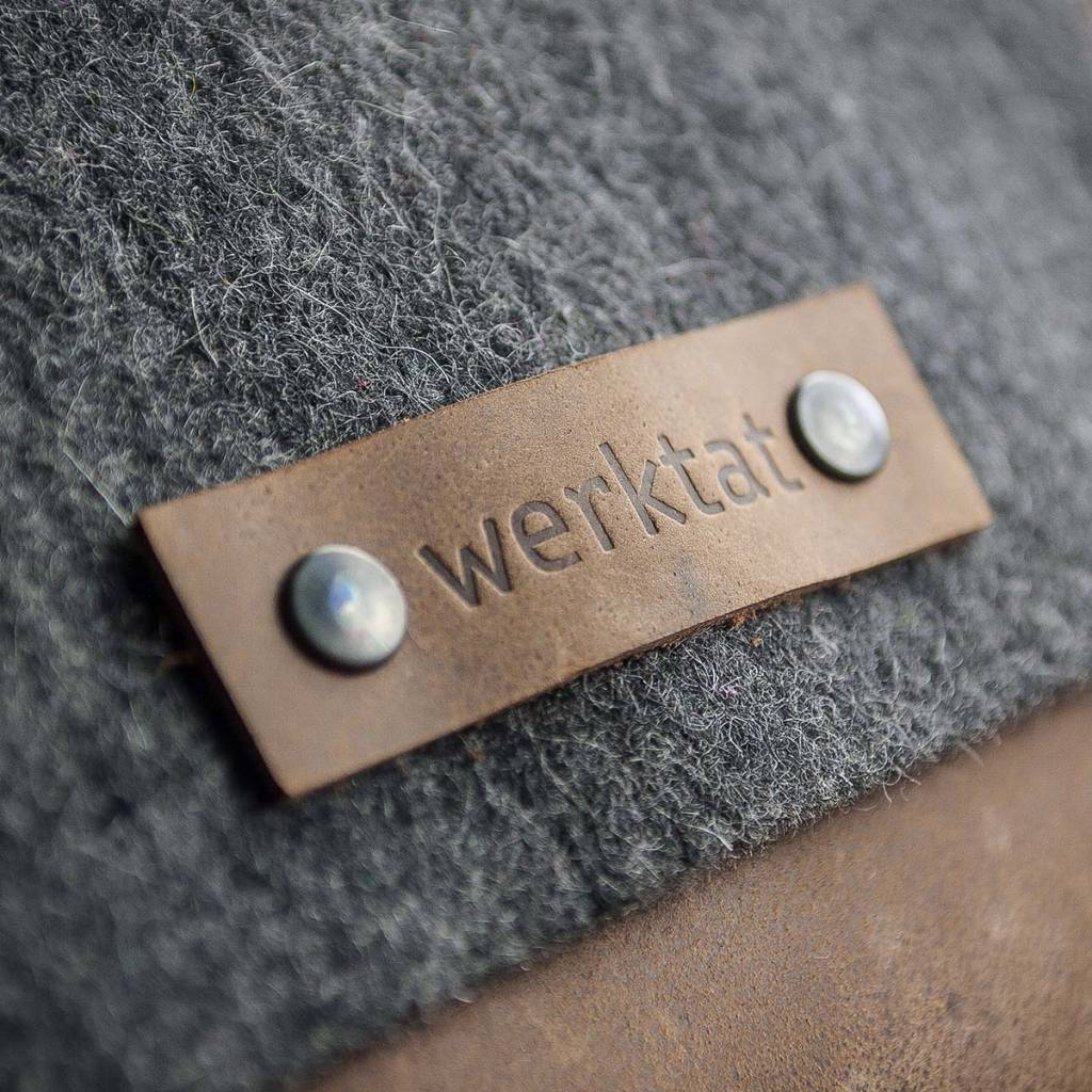 shoulder bag in grey felt and brown leather WERKSBOTEN MAX+MORITZ