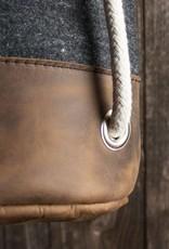 "small duffle bag, match bag, gym bag, felt, leather ""chocolate"", backpack felt bag, leather bag, Meerwerk"