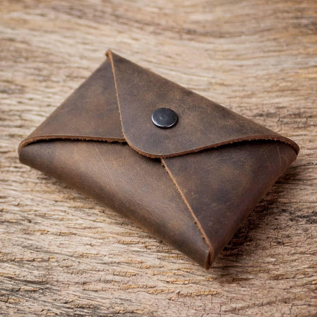 "business card holder leather brown, case, sleeve for business cards, ""Erstkontakt"", ""chocolate"""