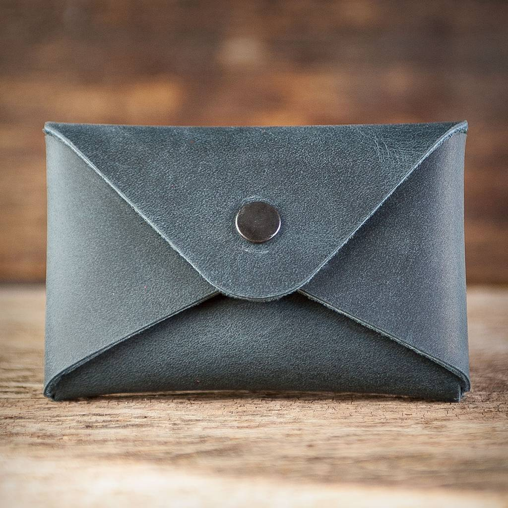 Business Card Holder Blue Leather Case For Business Cards