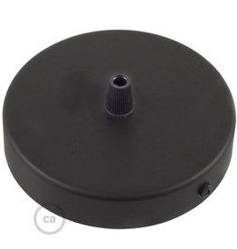 Plafondkap zwart  glans staal - 1 snoer