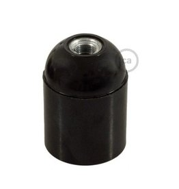 Fitting zwart bakeliet E27 glad