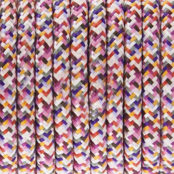 Stoffen snoer Pixels Fuchsia - rond 2 aders