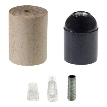 Houten lamphouder E27 - normaal snoer