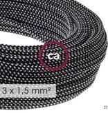 Stoffen snoer zwart / wit - rond 3x 1,5