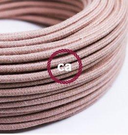 Stoffen snoer Roze grof linnen - rond 3 aders