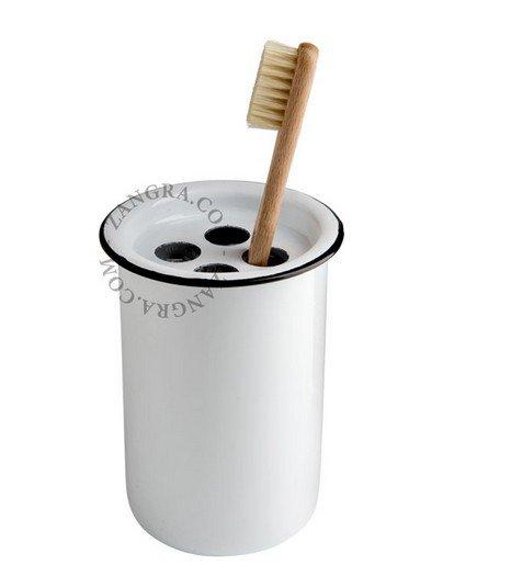 Emaille tandenborstelhouder - wit