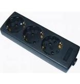 Techische unie Stekkerdoos 3-voudig zwart Thermoplast