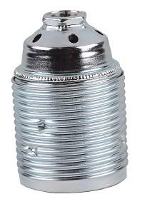 Fitting chroom E27 metaal buitendraad