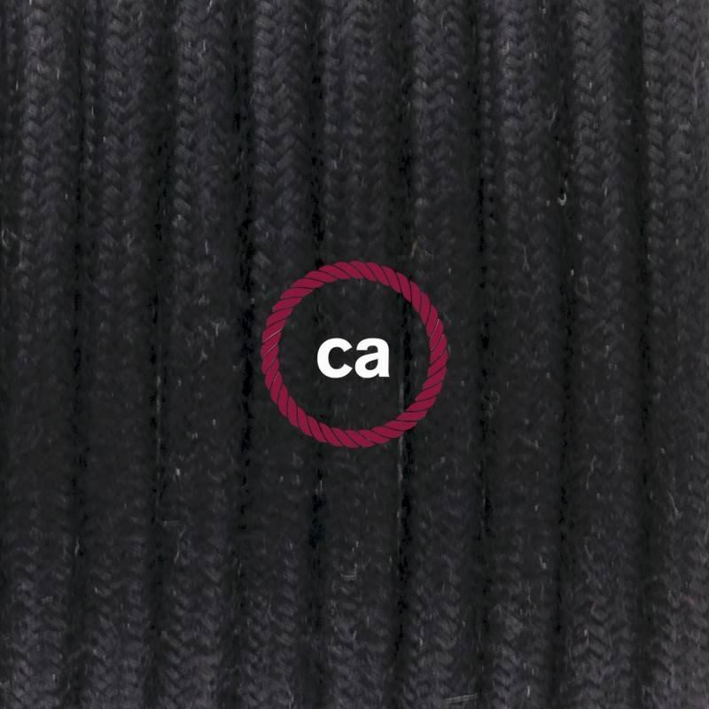Stoffen snoer Zwart grof linnen - rond 3 aders
