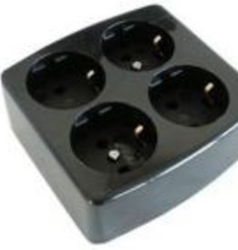 Stekkerdoos 4-voudig - zwart