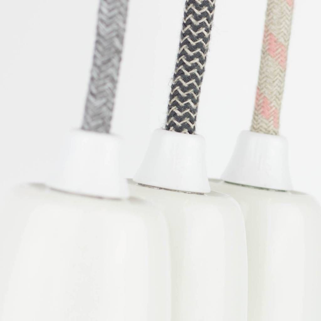 Stoffen snoer Zwart/wit grof linnen - rond 3 aders
