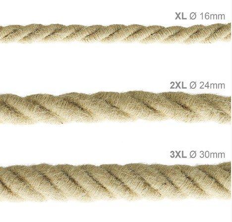 Stoffen snoer scheepstouw - 3x0.75 - jute 30mm