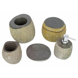 Indomarmer 5-piece River Stone bath set Flores