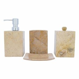 Indomarmer 4-Piece Marble bath set Java Squa