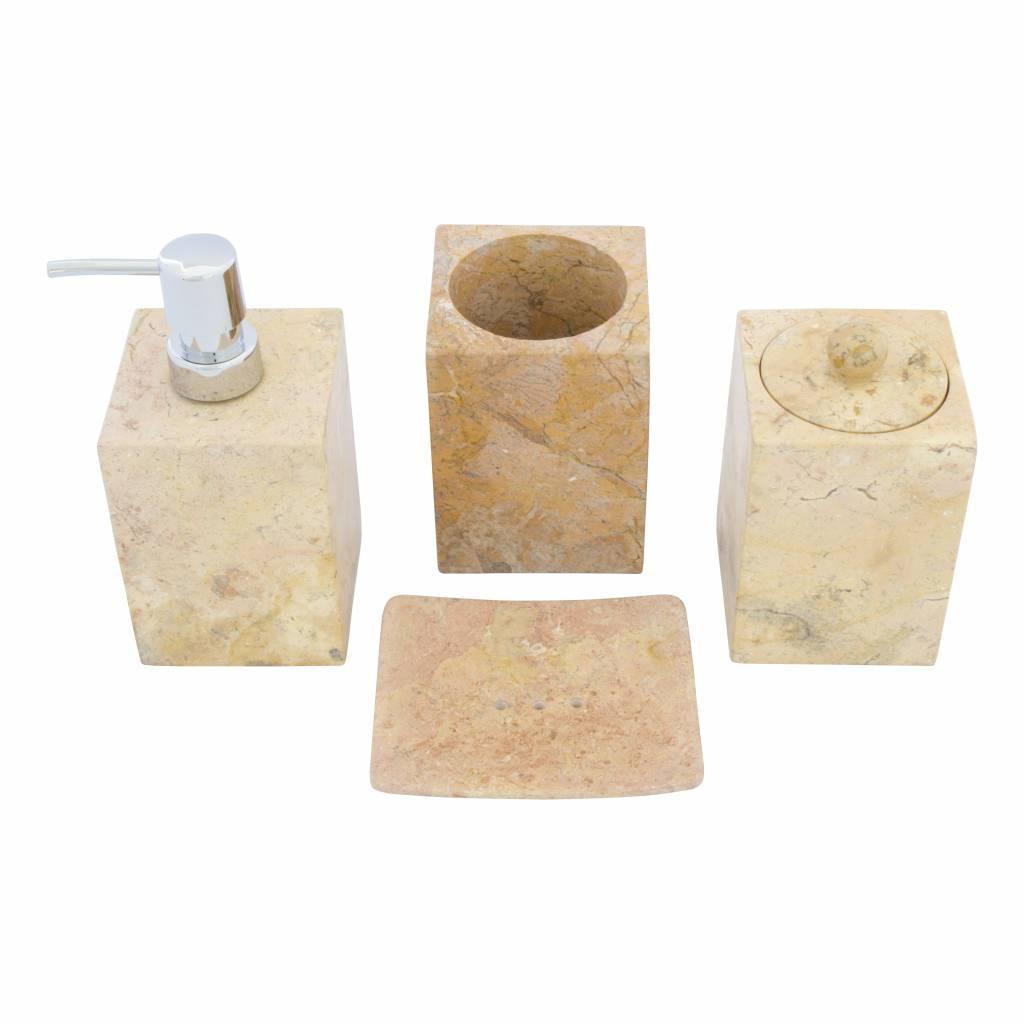 Indomarmer 4-Teilige Marmor Badeset Java Squa