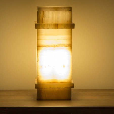 Indomarmer Square Lamp Onyx Height 40 cm