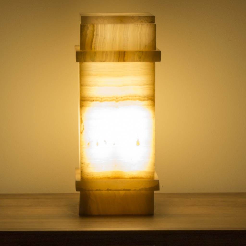 Indomarmer Square Lamp Onyx Hoogte 40 cm