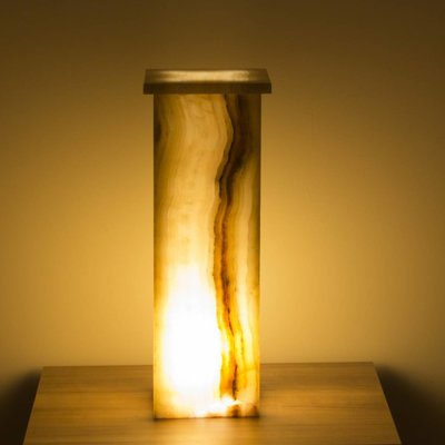 Indomarmer Square Lamp Onyx Height 55 cm