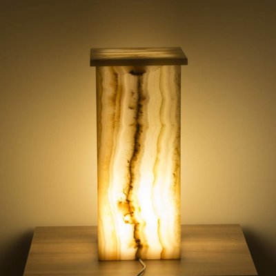 Indomarmer Square Lamp Onyx Height 50 cm