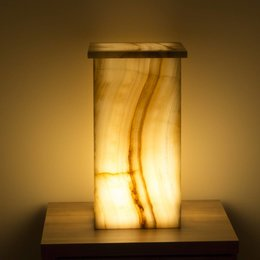 Indomarmer Square Lamp Onyx Height 52 cm