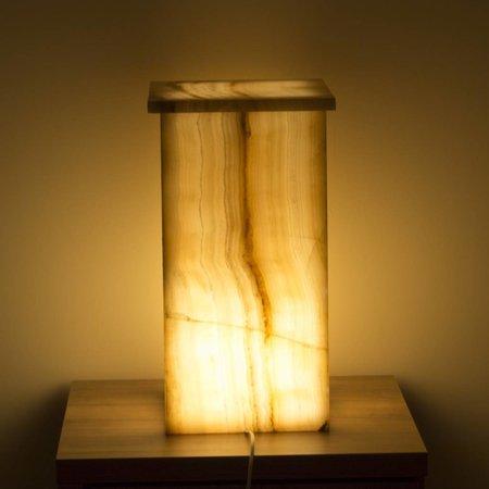 Indomarmer Square Lamp Onyx Height 52 cm