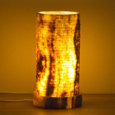 Indomarmer Zylinder Lampe aus Onyx