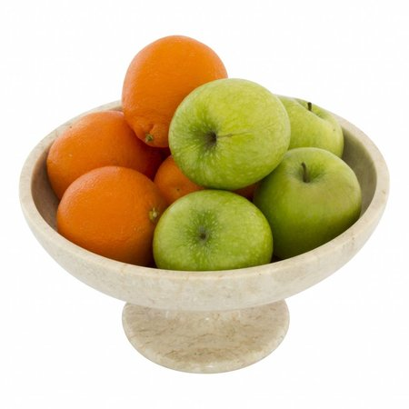 Cream Marble Fruit bowl with foot Ø 25cm