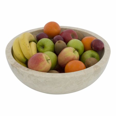 Large Fruit Bowl of Cream Marble 40cm