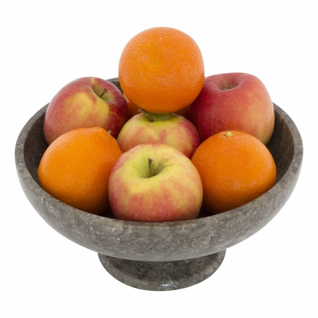 Indomarmer Fruitschaal met voet van Grijs Marmer 25 cm