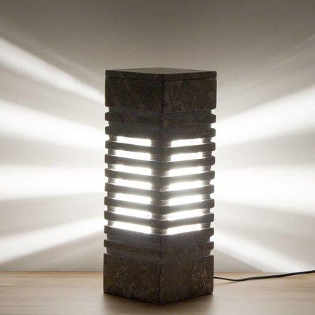 Indomarmer Square Lampe aus Grauem Marmor