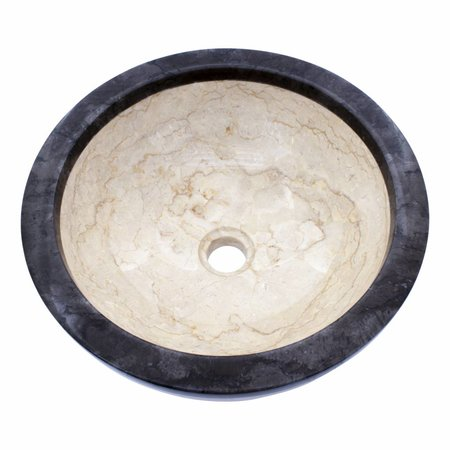 Indomarmer Cream and Black Marble Wash Bowl Ø 40 x H 15 cm