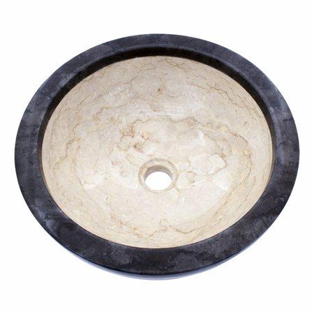 Indomarmer Waskom Crème en Zwart Marmer Ø 40 x H 15 cm